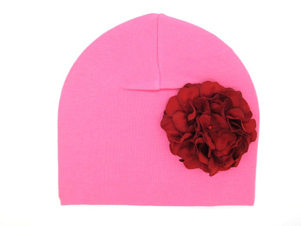 Candy Pink Cotton Hat with Red Large Geraniums