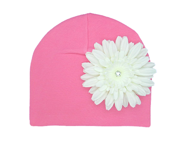 Candy Pink Cotton Hat with White Daisy