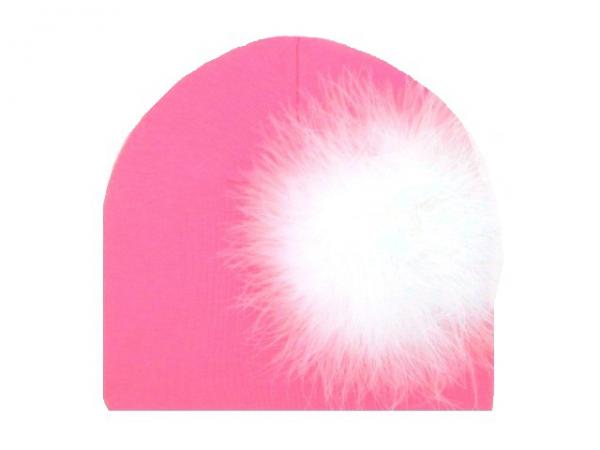 Candy Pink Cotton Hat with White Large regular Marabou