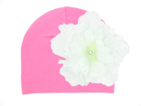 Candy Pink Cotton Hat with White Large Peony
