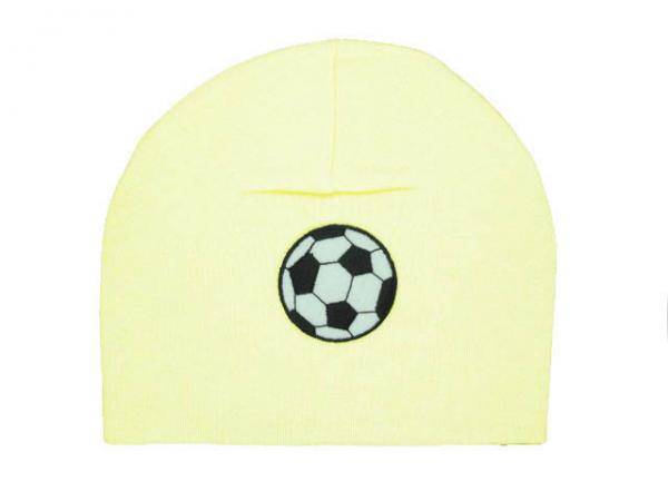 Cream Applique Hat with Black Soccer Ball