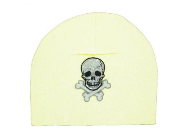 Cream Applique Hat with Black Skull