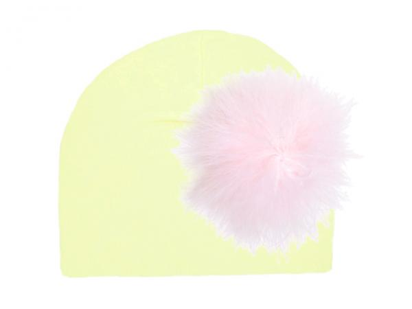 Cream Cotton Hat with Pale Pink Large regular Marabou