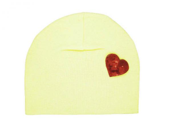 Cream Applique Hat with Red Heart