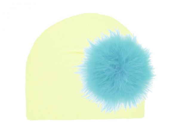Cream Cotton Hat with Teal Large regular Marabou