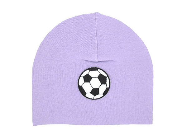 Lavender Applique Hat with Black Soccer Ball