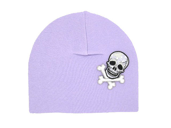 Lavender Applique Hat with Black Skull