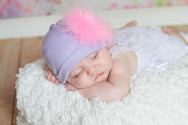 Lavender Cotton Hat with Candy Pink Large regular Marabou