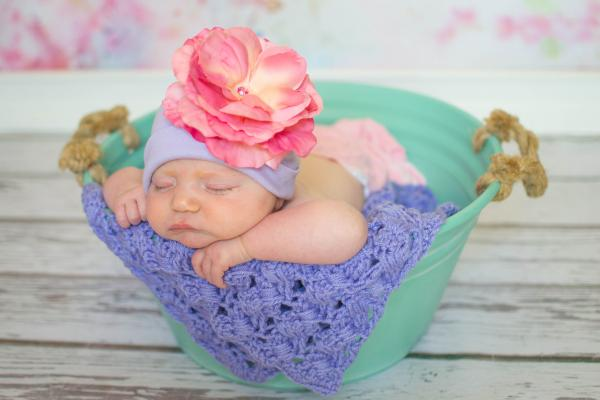 Lavender Cotton Hat with Candy Pink Large Rose