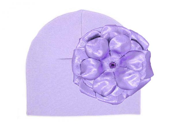 Lavender Cotton Hat with Metallic Purple Rose