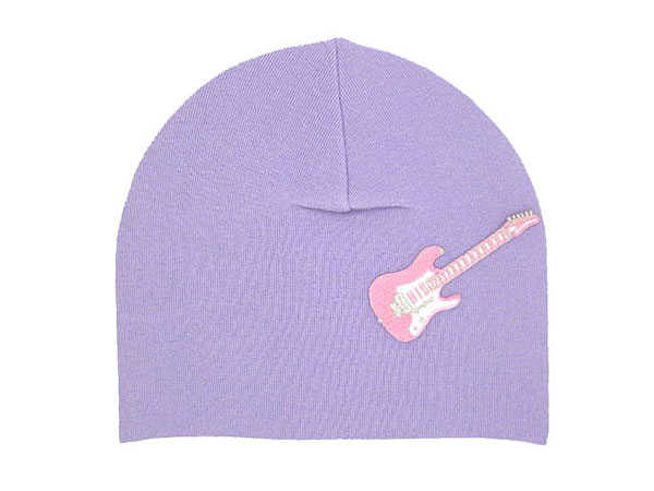 Lavender Applique Hat with Pale Pink Guitar