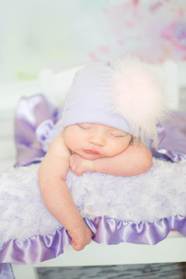 Lavender Cotton Hat with Pale Pink Large regular Marabou