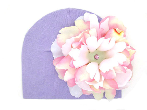Lavender Cotton Hat with Pink White Large Peony