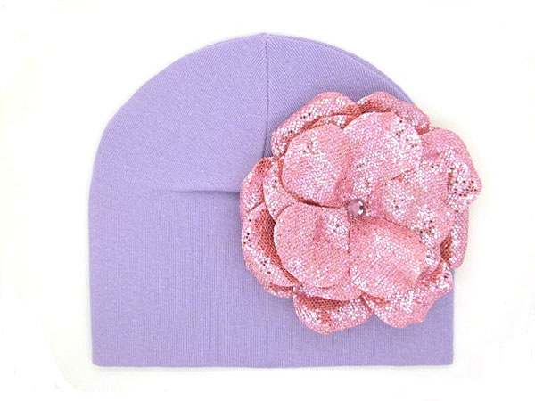Lavender Cotton Hat with Sequins Pale Pink Rose