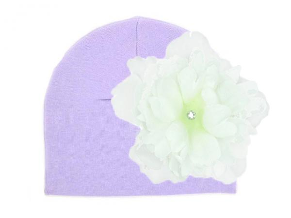 Lavender Cotton Hat with White Large Peony