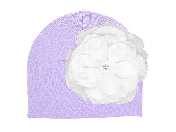 Lavender Cotton Hat with White Large Rose