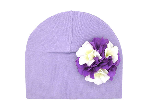 Lavender Cotton Hat with White Purple Large Geraniums