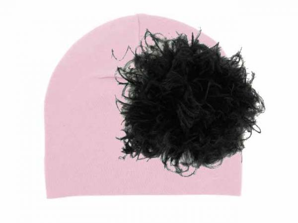 Pale Pink Cotton Hat with Black Large Curly Marabou