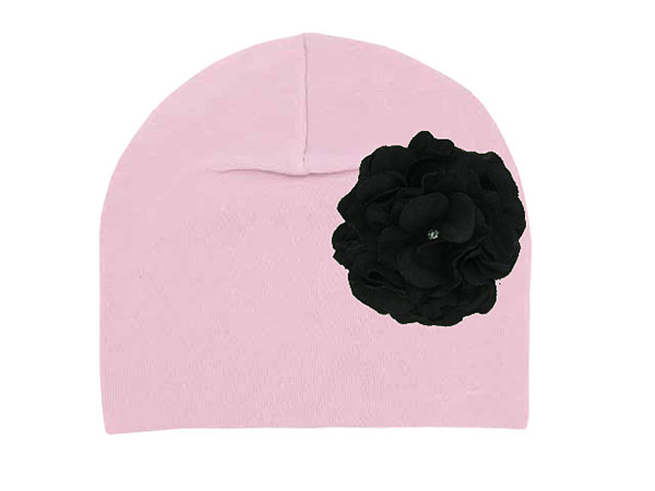Pale Pink Cotton Hat with Black Large Geraniums