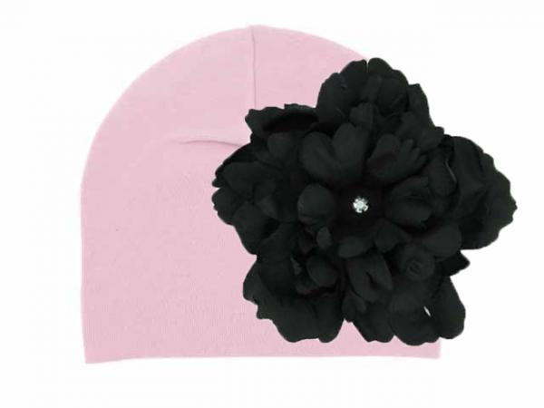 Pale Pink Cotton Hat with Black Large Peony