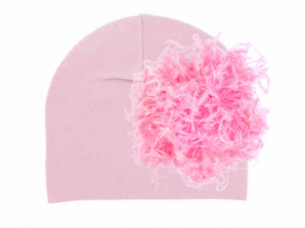 Pale Pink Cotton Hat with Candy Pink Large Curly Marabou