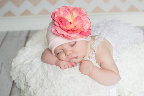 Pale Pink Cotton Hat with Candy Pink Large Rose