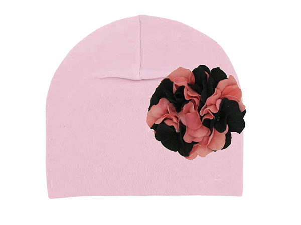 Pale Pink Cotton Hat with Pink Black Large Geraniums