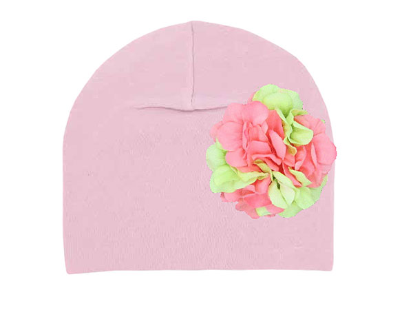 Pale Pink Cotton Hat with Pink Green Large Geraniums