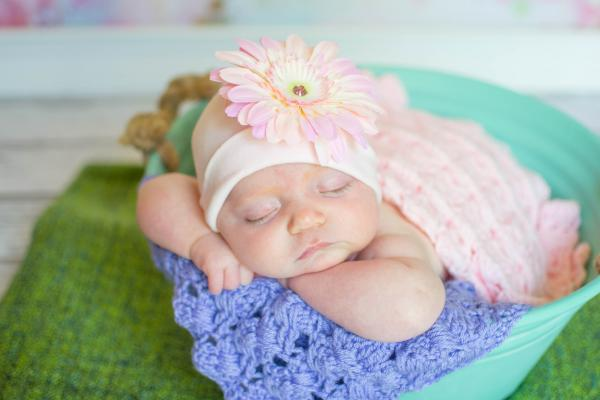 Pale Pink Cotton Hat with Pale Pink Daisy