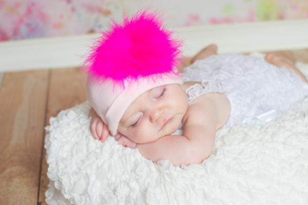 Pale Pink Cotton Hat with Raspberry Large regular Marabou