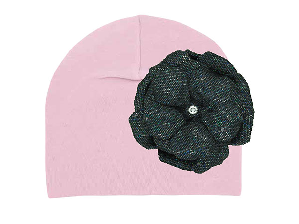 Pale Pink Cotton Hat with Sequins Black Rose