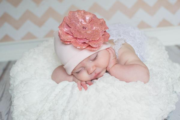 Pale Pink Cotton Hat with Sequins Pale Pink Rose