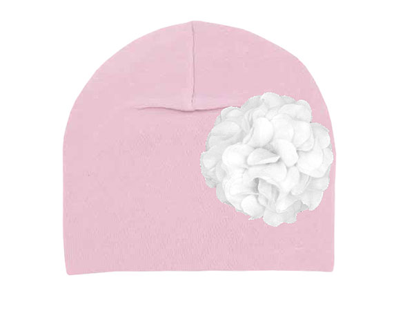 Pale Pink Cotton Hat with White Large Geraniums
