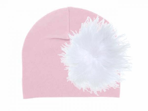 Pale Pink Cotton Hat with White Large regular Marabou
