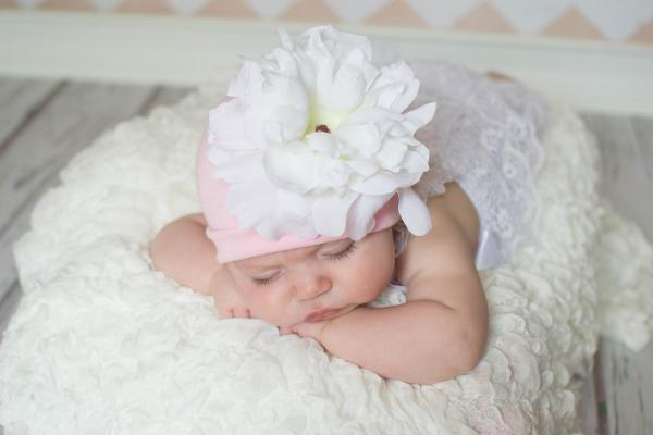 Pale Pink Cotton Hat with White Large Peony