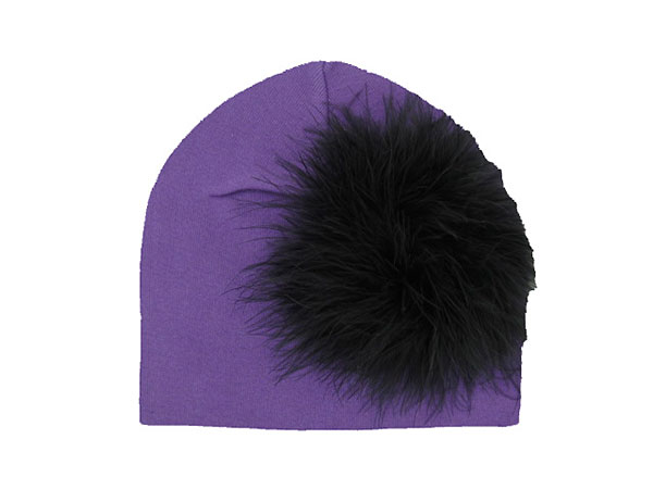 Purple Cotton Hat with Black Large regular Marabou