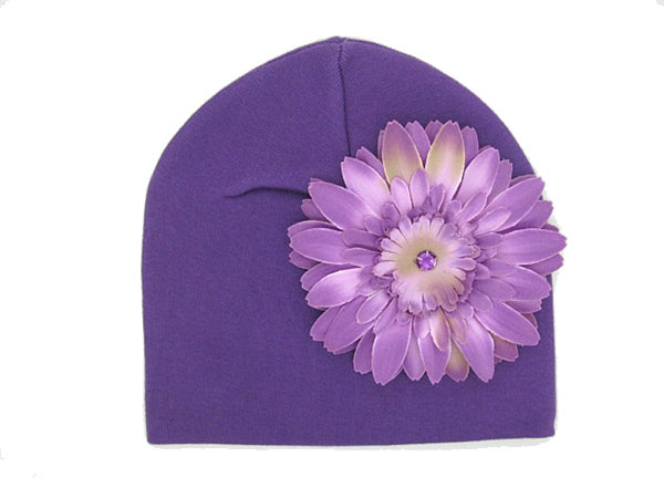 Purple Cotton Hat with Lavender Daisy