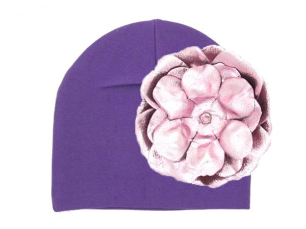 Purple Cotton Hat with Metallic Pale Pink Rose