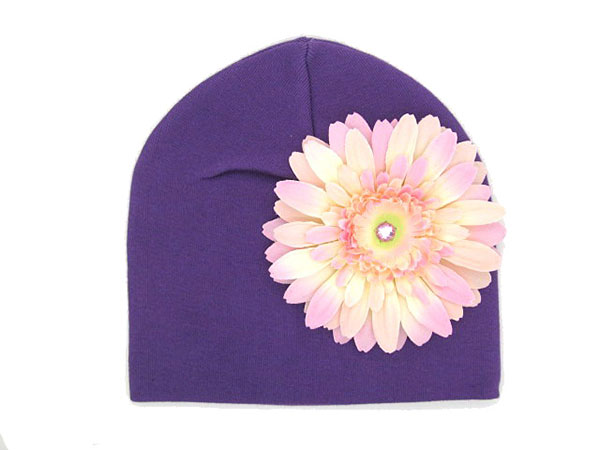 Purple Cotton Hat with Pale Pink Daisy