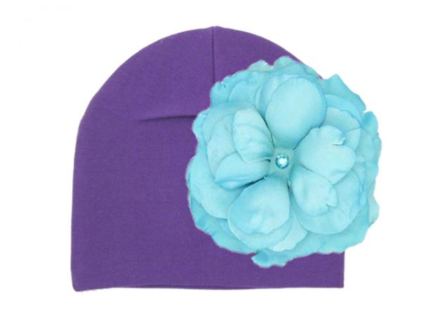Purple Cotton Hat with Teal Large Rose