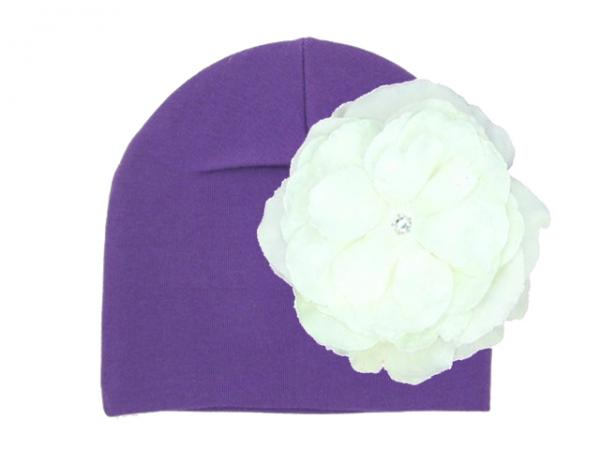 Purple Cotton Hat with White Large Rose