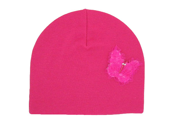 Raspberry Applique Hat with Butterfly