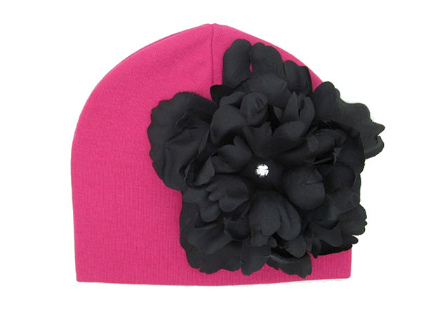 Raspberry Cotton Hat with Black Large Peony