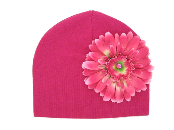 Raspberry Cotton Hat with Candy Pink Daisy