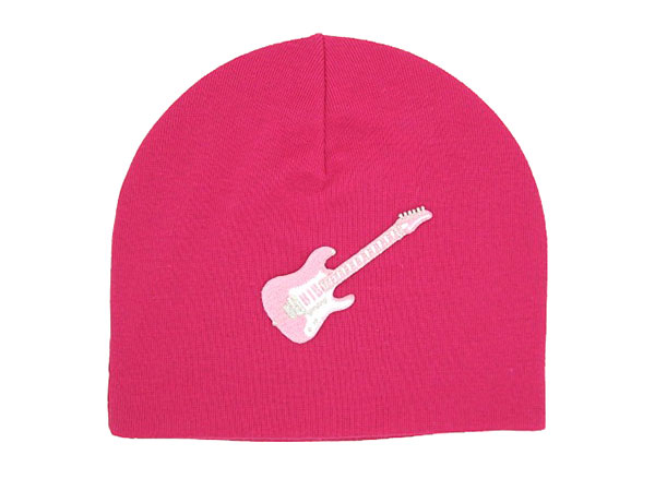 Raspberry Applique Hat with Pale Pink Guitar
