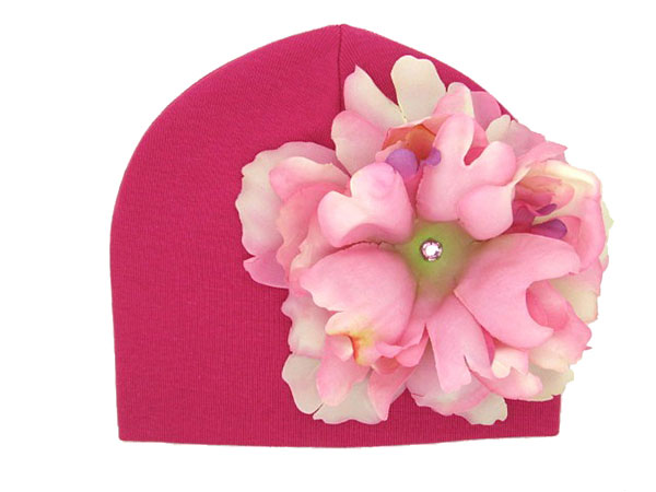 Raspberry Cotton Hat with Pale Pink Large Peony