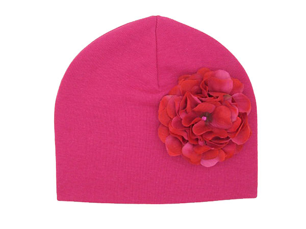Raspberry Cotton Hat with Raspberry Large Geraniums
