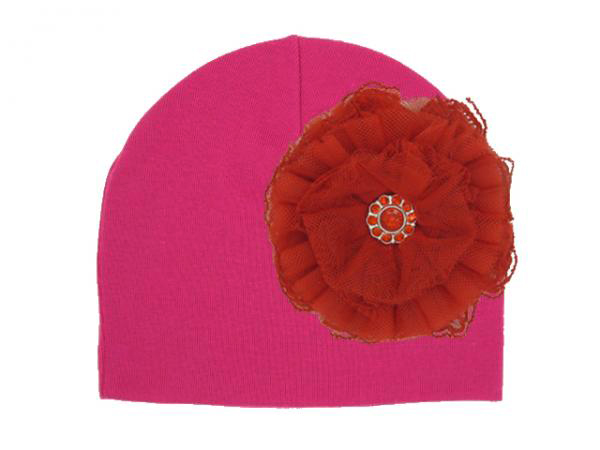 Raspberry Cotton Hat with Red Lace Rose