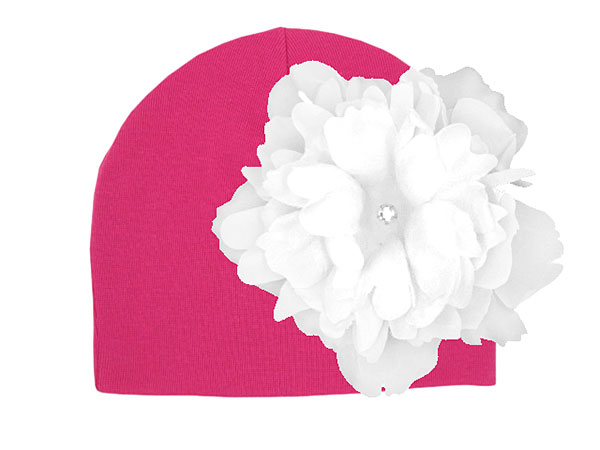 Raspberry Cotton Hat with White Large Peony