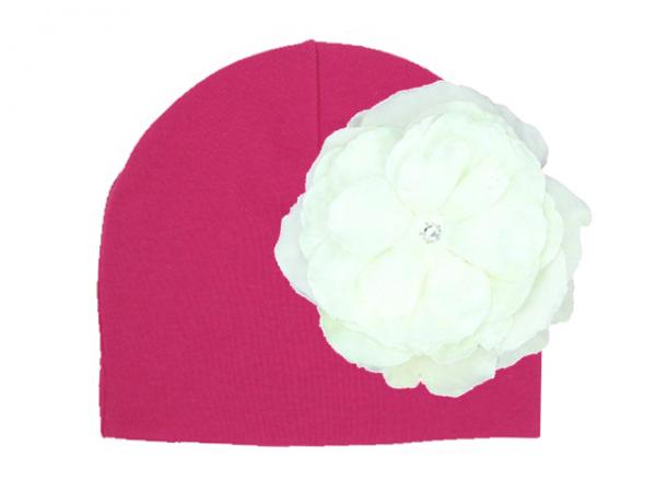 Raspberry Cotton Hat with White Large Rose